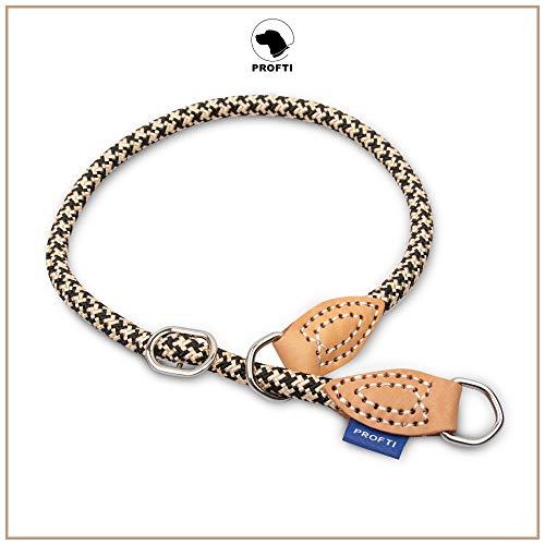 PROFTI Halsband aus Nylon für Hunde, mit Zugstopp, große/kleine Hunde, Halsumfang: 54-66cm (Schwarz/Beige)