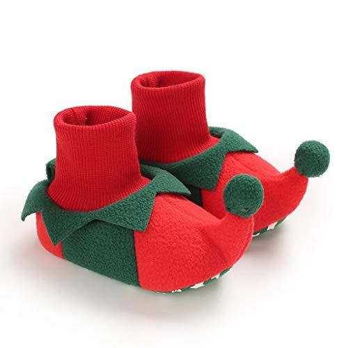 WWWEE Zapatos de bebé Unisex Primeros Zapatos Andadores de bebé Niño Primer Andador Bebé niña Niños Zapato de bebé de Suela Suave Botines de Punto Antideslizantes (Color : Red, Size : 7-12 Months)