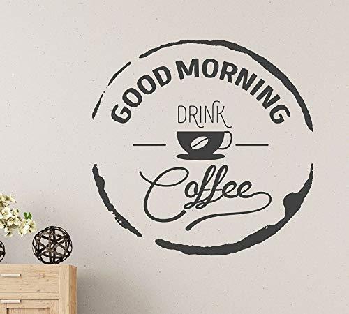 ASFGA Guten Morgen Trinken Kaffee Wandaufkleber Vinyl Applique Kunst Cafe Dekoration Wandbilder Grafik zu Hause Dekoration Wandaufkleber 42 * 43cm