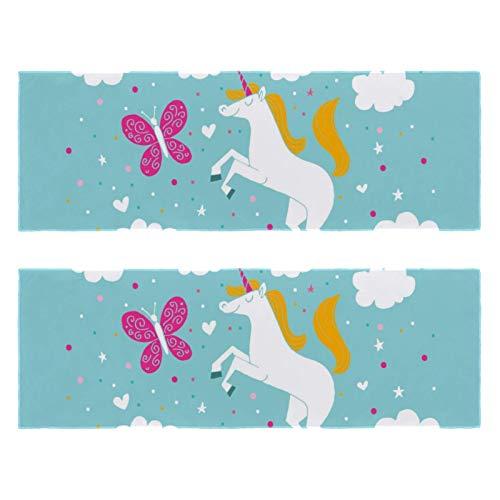 2 paquetes de toallas de yoga para gimnasio, camping, playa y viajes, adorable toalla deportiva de unicornio para cuello, secado rápido