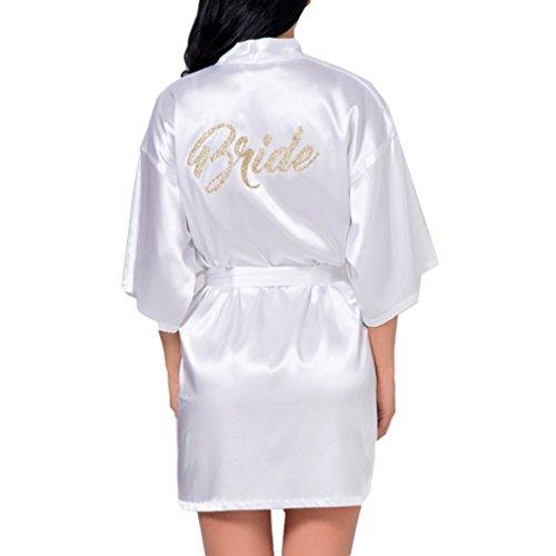 hibote Weding Braut Brautjungfer Robe Hochzeit Kimono Bademantel Satin Silk GownWhite Mothe der Braut