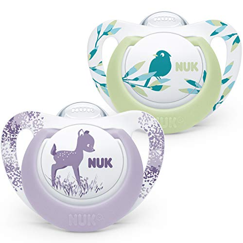 NUK Genius Color Schnuller | 0-6Monate | BPA-freie Schnuller aus Silikon | Hirsch und Vogel | 2Stück