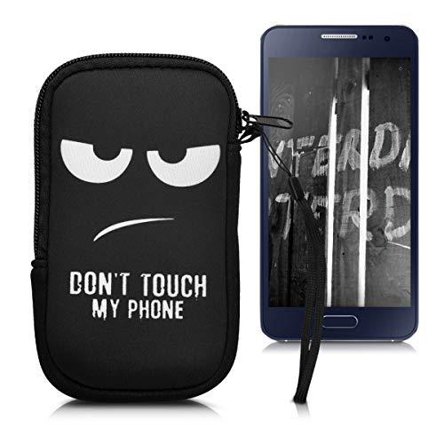 kwmobile Funda Universal para móvil de S - 4,5' - Estuche de Neopreno con Cierre - Carcasa Don't Touch my Phone