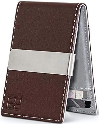 F&H Minimalist Slim Leather Wallet Money Clip Holds 8 Cards (Espresso/Stone)