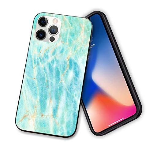 Carcasa para iPhone 12 Pro Max [2021 lanzado] azul océano mármol duro PC trasera con suave cubierta de TPU para iPhone 12 Pro Max 6.7 pulgadas