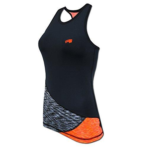 ROUGH RADICAL Damen Funktionsshirt Sportshirt Reaction Tank TOP (L, schwarz/grau/orange)