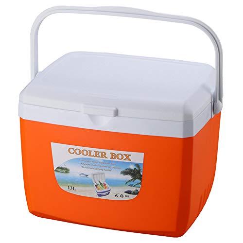 X&HUI Outdoor-Kühlbox, Kunststoff, isoliert, tragbar, Picknick, Angeln, Lebensmitteltransport, groß, Camping, Auto, wasserdicht, isoliert, leicht, 13 l, Orange