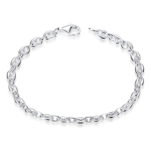 MATERIA Damen Armband Bohnenkette Silber 925 - Kaffeebohnen Armkette flach in Schmuck Etui SA-116-19 cm