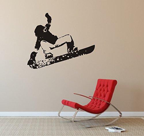 blattwerk-design Snowboard Wandtattoo, Wandaufkleber, Snowboarder, Wintersport, Verschiedene Größen und Farben (720 mm x 600 mm, Schwarz)