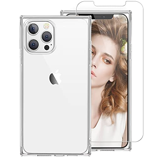 iDLike for iPhone 13 Pro Max Case [with Screen Protector] for Women Girls, Clear Square Design Soft TPU Protective Phone Case with Reinforced Squared Corners for iPhone 13Pro Max,Clear