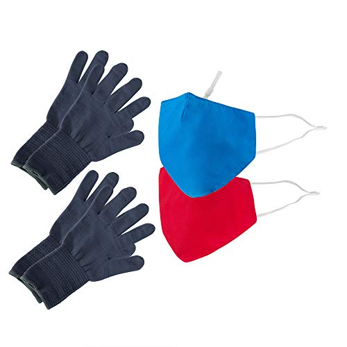 Be Wise Washable & Resusable Personal Protection Face Mask, Gloves, and Touch Tool Utility Kit, Red, 4 Pack