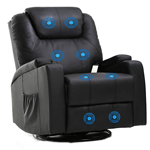 Massage Recliner Chair Reclining Sofa PU Leather Electric Massage Chair with 360 Degree Swivel Remote Control 8 Point Vibration Modes 2 Cup Holders