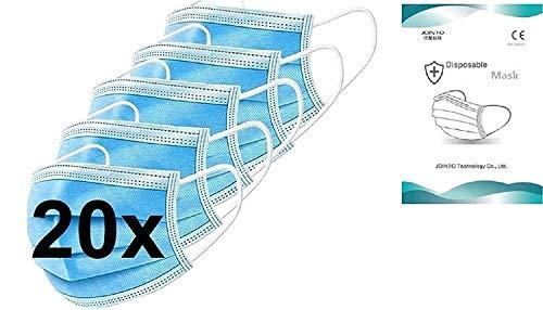 DECADE 123 EGM-20 20x Medizinische Einweg Einwegmaske Mundschutz Staubschutz mit Ohrschlaufen EN14683 Atemmaske mit BFE 95% Atemschutzmaske 3lagige OP Maske