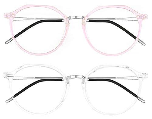 HBselect Set da Occhiali Luce Blu Ridurre l'Affaticamento Occhiali Anti Luce Blu Leggeri e Antiscivoli Occhiali Filtro Luce Blu Anti UV Occhiali da Vista Unisex alla Moda (Bianco+Rosa)