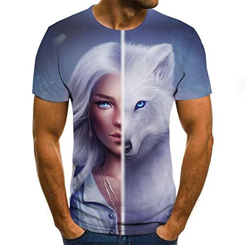 camisetas 3d de hombre Belleza de pelo blanco de media cara y camiseta de lobo blanco para hombre camiseta 3DT de manga corta con cuello redondo impresión digital casual de manga corta-color_5XL