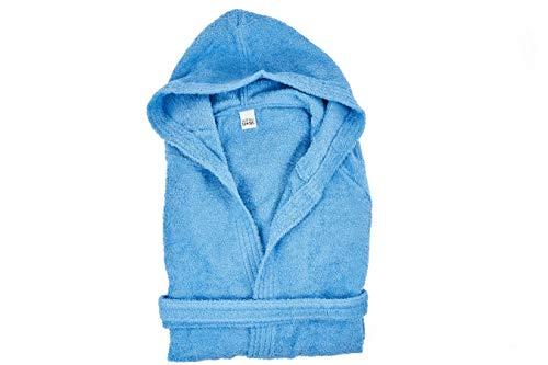 Smartdecohome Bademantel für Damen und Herren, mit Kapuze, 100 % Baumwolle, hergestellt in Italien, Größen S M L XL XXL, Türkis XL