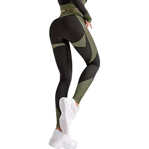 Leggings Elásticos Reducir Vientre,Leggings Mujer Fitness Suaves,Pantalones de Fitness de Secado rápido, Pantalones de Yoga Transpirables-Green_M