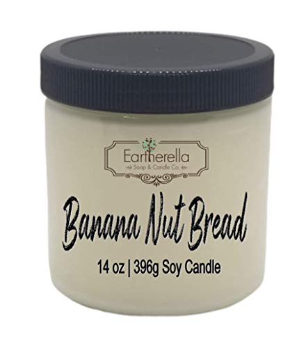 BANANA NUT BREAD Natural Soy Wax 14 oz. Jar Candle, 90+ hours VEGAN