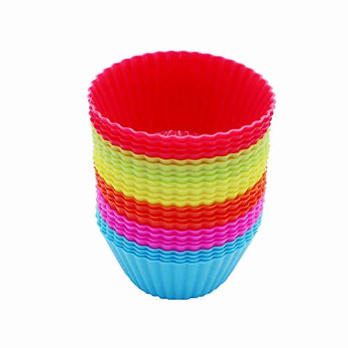 iiHOME Reusable Silicone Baking Cups Cupcake Liners Muffin Cups Cake Molds, Pack of 24 (Random color)