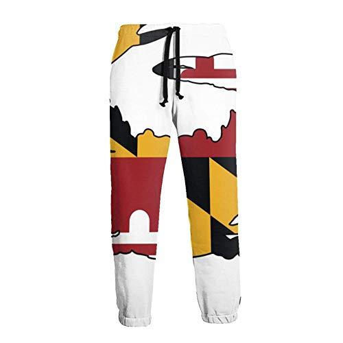 AEMAPE Herren Maryland Flag Crab Sticker Sportliche Jogginghose Elastic Waist Sporthose mit Kordelzug und Taschen