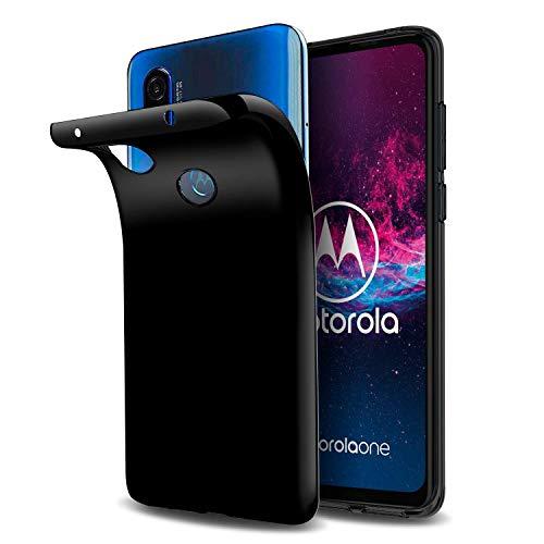 Capa Capinha Tpu Flexível Transparente Para Motorola Moto One Action de Tela 6.3Polegadas - Case Proteção Clear Ultra Fina - Danet (Preto fumê)