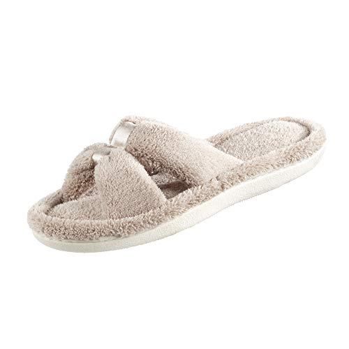 isotoner Women's Microterry Satin X-Slide, Taupe, 9-10