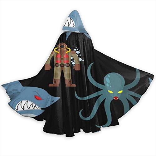 Buzo con Traje de Buceo Antiguo y Monstruos Marinos Capa para Adultos Disfraz de Cosplay de Halloween Capa Larga Neutral Capa 59 Pulgadas Capa Larga Negro