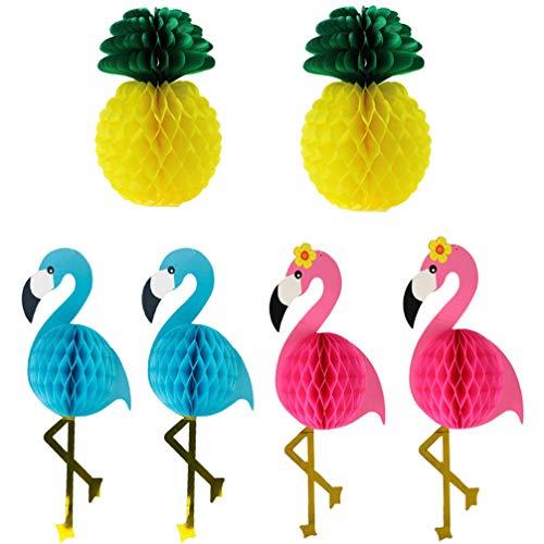 Artibetter 6 Piezas Piezas de Centro de Nido de Abeja de Panal Flamingo Tropical Pompones Decoración de Papel de Seda para Fiesta de La Selva Hawaiana