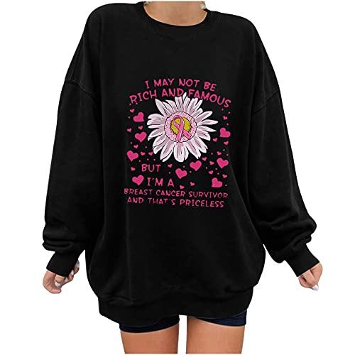 Wave166 Jersey monocromático con la campaña de sensibilización para el cáncer de mama rosa Ribbon y rotulación impresa camiseta de manga larga cuello redondo moda casual sudadera para mujer, Negro , L