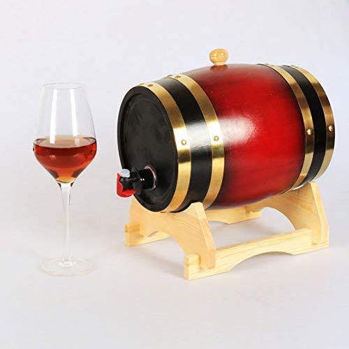 ASDF Eiken Vat, 1/3 /5L Vintage Hout Eiken Houten Wijnvat Eiken Opbergen Vat Ingebouwde Aluminium Folie Liner voor het opslaan van uw eigen Whiskey Bier Wijn Bourbon Brandy Hete Saus