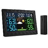 iLifeSmart Estación Meteorológica Inalámbrica con Sensor de Interior/Exterior,Reloj, Fecha, Alarma, Temperatura, Humedad en LCD Gran Pantalla