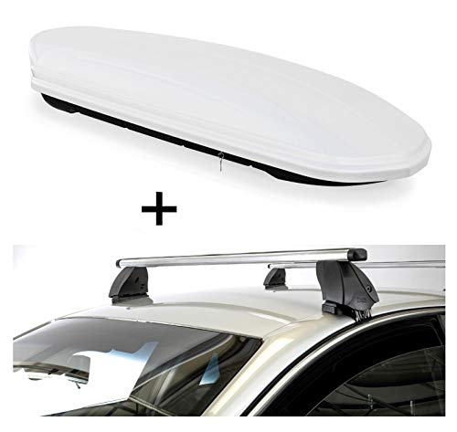 Dakbox VDPMAA460 460 liter wit afsluitbaar + dakdrager K1 PRO aluminium compatibel met Toyota C-HR (5-deurs) vanaf 16