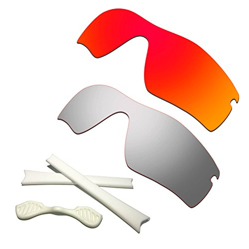 HKUCO Red/Titanium Polarized Replacement Lenses Plus White Earsocks Rubber Kit for Oakley Radar Path