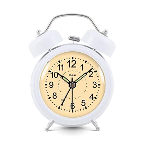 Twin Bell wekker voor nachtkastje, stil, kwarts, tafelklok, slaapkamer, werkkamer, achtergrondverlichting, kantoor, klok, huis, werkt op batterijen 9cm*5cm*12cm Geel