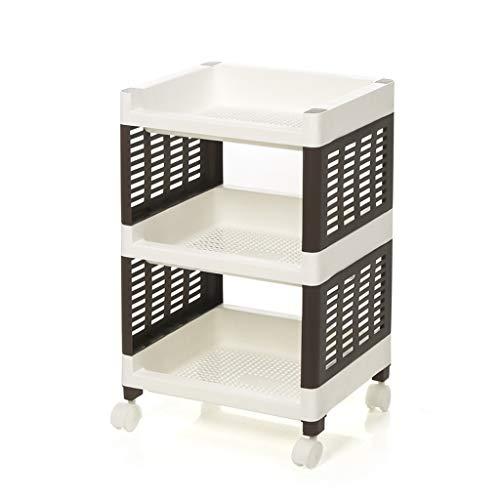 CWT-trolley Estante rectangular resistente de plástico estante de almacenamiento con ruedas extraíble (tamaño: L-36 cm)