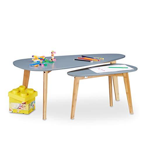 Relaxdays Table d'appoint en bois design nordique scandinave pieds bambou, gris set de 2