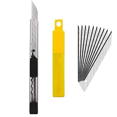 Gebildet Edelstahl Cuttermesser mit 10x 9mm 30° Klingen - Folierer- Grafikmesser/Folienmesser/Car wrapping knife / 30 Grad Cutter