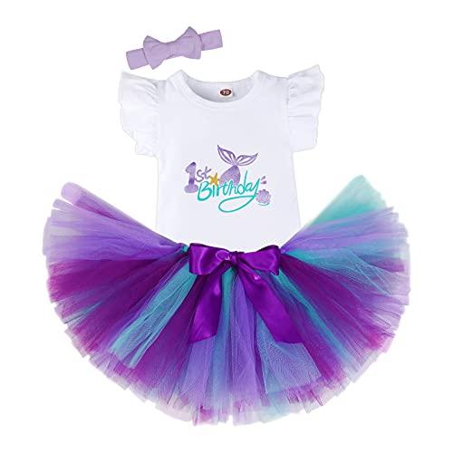 Bebé Niñas Sirenas Es mi Primer Cumpleaños Niña Trajes Conjuntos Princesa Vestido Tutu 3 Piezas Mameluco + Falda + Conjuntos con Diadema de Unicornio y Mameluco y Faldas