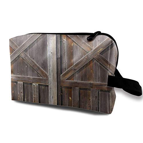 XCNGG Bolsas de aseo para niñas Bolsas de maquillaje de viaje espaciosas Bolsa de cosméticos de viaje portátil Tablero de puerta de granero de madera vieja Marrón