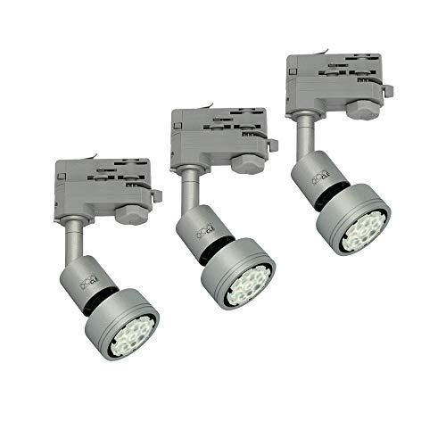 3x CLE PURI LED GU10 alugrau 3 Ph. Stromschienstrahler f. Erco Staff Lival Eutrac Global Schiene max. 50W