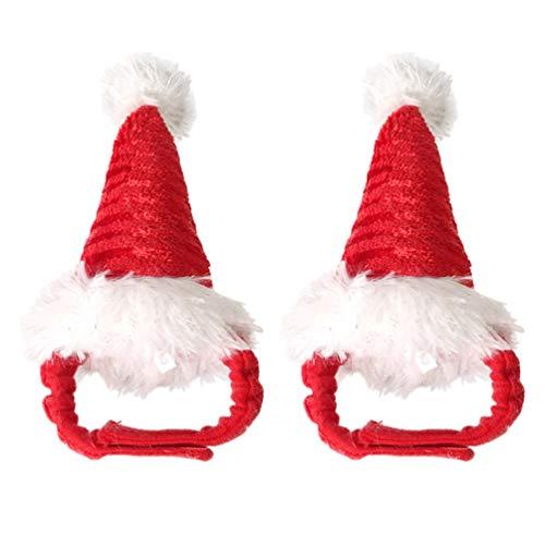 POPETPOP Haustier Weihnachtsmütze Hamster Weihnachtskostüm- 2 Stück Kleine Weihnachtsmann Mütze Outfits für Kaninchen Hamster Hase Ratten Meerschweinchen Und Kleine Tiere