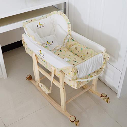 BUDBYU Couffin bébé paniers Moses avec Support Lit-Berceau portatif Standard pour bébé, balançoire pour Cadre en pin, Panier-lit pour Nouveau-né pour bébé et bébé