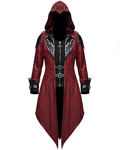 Devil Fashion Mujer Gótico con Capucha Chaqueta Rojo Dieselpunk Assassins Creed - Rojo y Negro, S