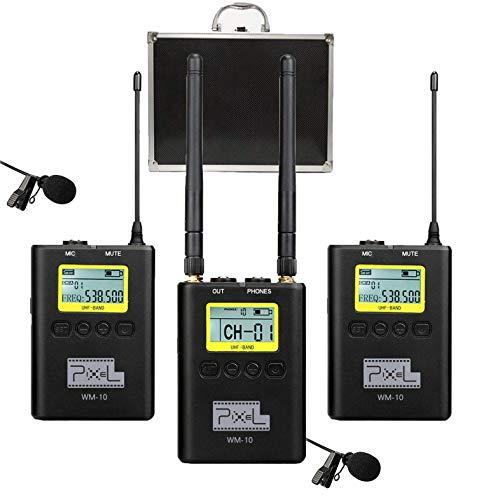 fotowelt 100 Kanäle WM-10 Kabellos Lavalier Mikrofon Set Mikrophon Lavalier Unterstützung für Echtzeitmonitor mit Kamerahalterung für DSLR Kamera Camcorder Audio Recorder Interviews ENG EFP DV iPhone