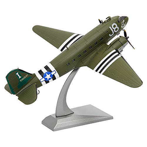 Model plane, Military Airplane Model,1:100 WWII American C-47 Transport Aircraft Model,Metal Fighter Military Model,for Commemorate Collection or Kids Birthday gift