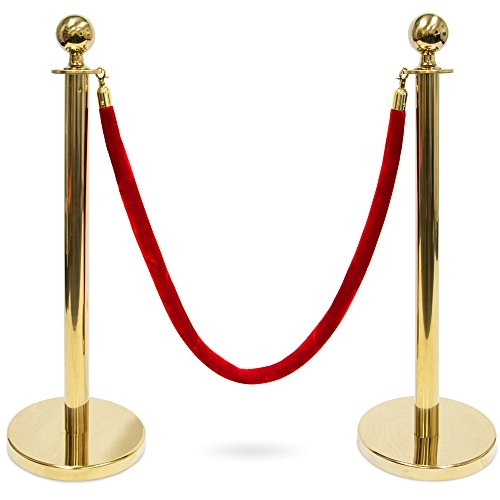 3-Foot Polished Ball Top Stanchions with 4.5-Foot Red Velvet Rope by Pudgy Pedros Party Supplies (Gold)