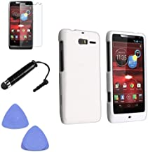 (4 Items Combo : Case - Screen Protector Film - Case Opener - Stylus Pen) Rubberized Solid White Color Snap on Hard Case Skin Cover Faceplate for Motorola Droid RAZR M 4G LTE / XT907 - Verizon