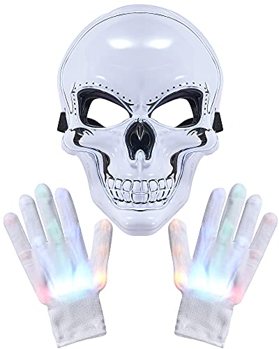 Halloween Mask with LED Gloves Light Up Scary Mask Costumes Glow Skeleton Mask Rainbow Glow in the Dark Gloves for Halloween Cosplay Masquerade Carnival Parties Supplies