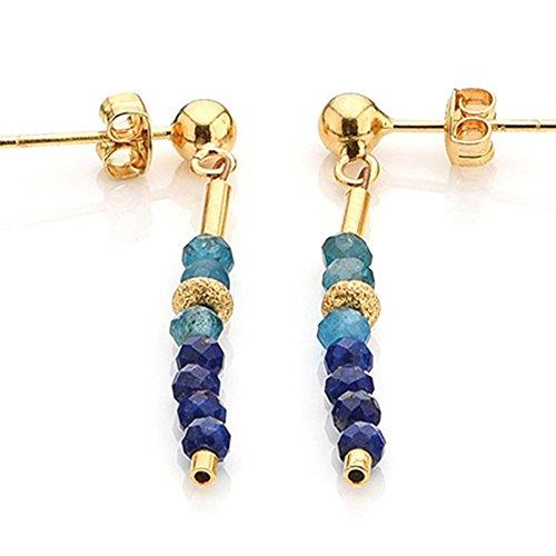 Edelstein Ohrstecker hochwertige Goldschmiedearbeit aus Deutschland mit Lapislazuli und Apatit (Sterling Silber 925, vergoldet) Damen Ohrringe mit Wert Expertise