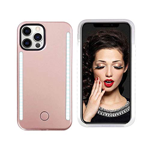 Vanjunn Selfie Light up Case for iPhone 12 Pro Max 6.7 Inch, LED Case with Rechargeable Back and Front Illuminated Luminous Lights for iPhone 12 Pro Max 6.7 Inch only (Rose Gold)
